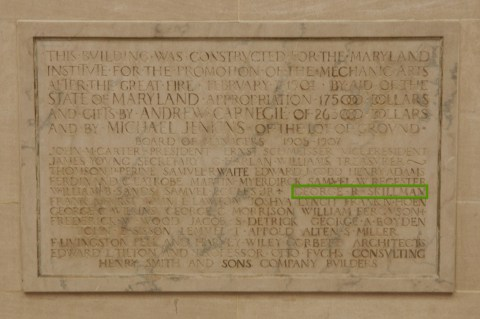My dad's name, carved in stone at MICA's Main Building.