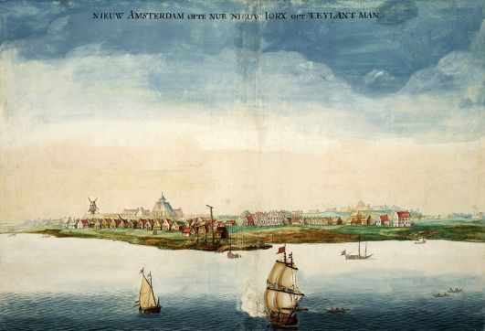 New Amsterdam as it appeared circa 1660. Painting from Wikipedia.