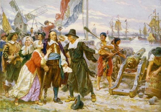 Governor Peter Stuyvesant is persuaded not to resist the English. Painting from Wikipedia.