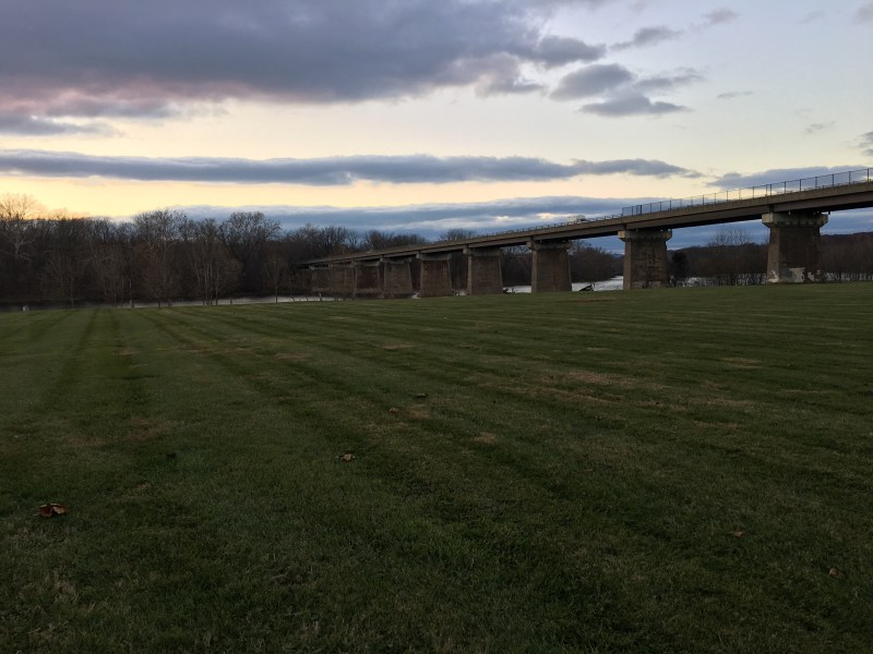 The bridge that carries modern-day Route 11 is roughly in the location where the Confederates crossed the Potomac in Williamsport. - <i>Photo by the Author</i>