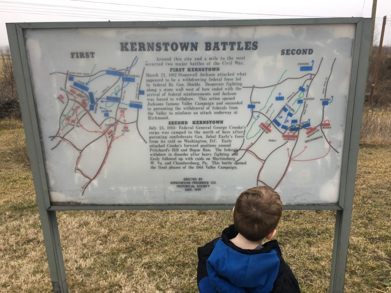 My son checks out the maps of the First and Second Battles of Kernstown. - <i>Photo by the Author</i>