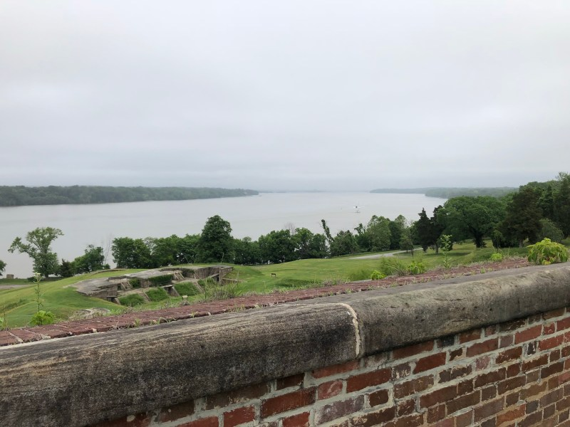 The view upriver from the top of the fort. Note the Endicott batteries closer to the shoreline. - <i>Photo by the Author</i>