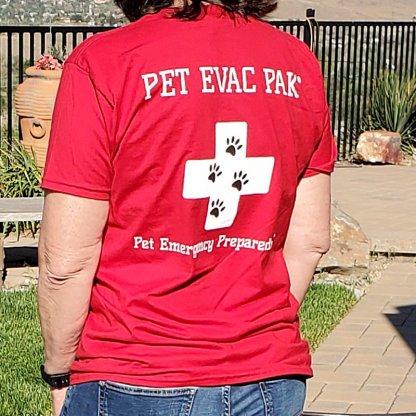 T-Shirt Red Back - Pet Emergency Preparedness paw prints
