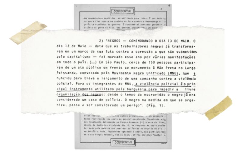Trecho de documento da ditadura espionando o movimento negro