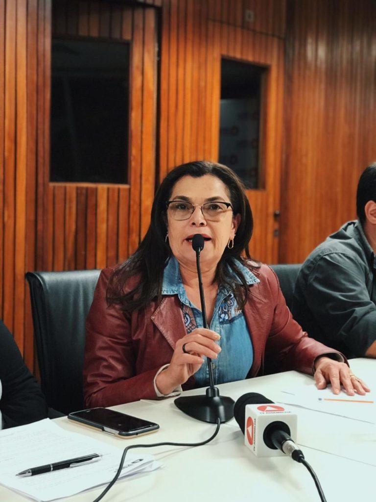 Presidenta do PT de Minas na coletiva de imprensa