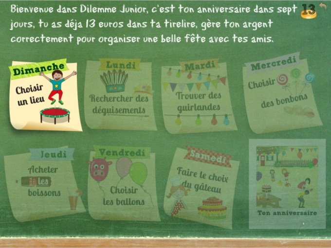 Dilemme Junior : début du jeu