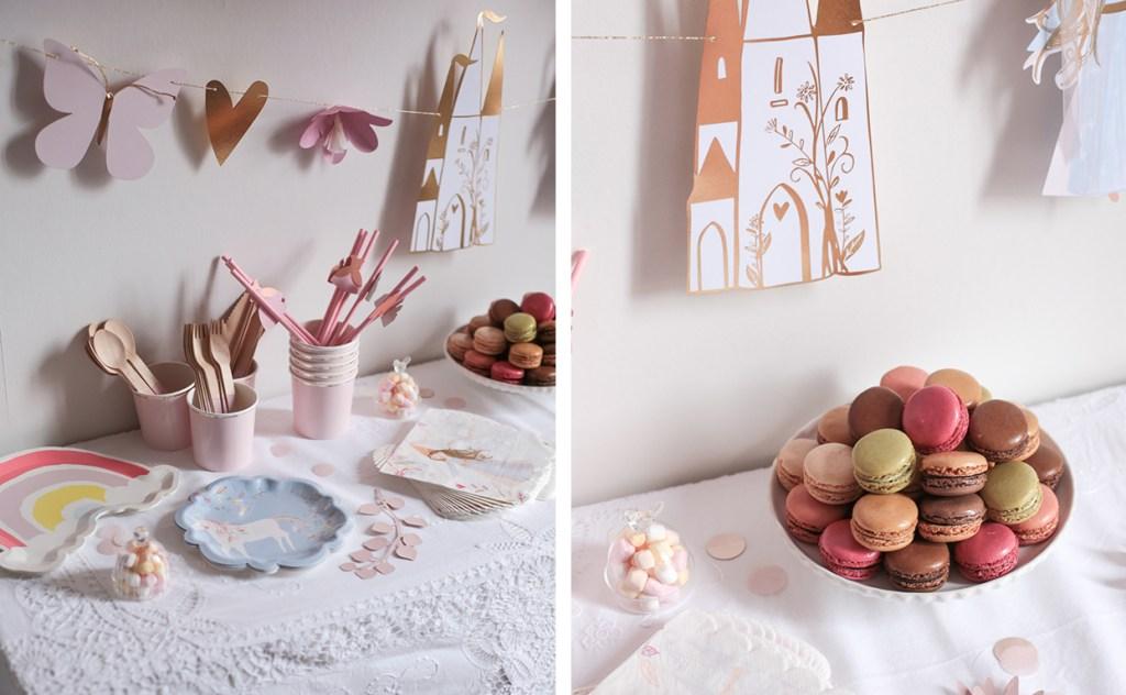 anniversaire-mila-4-ans-rose-caramelle-decoration-princesse-rose-gold-meri-meri-macarons-monoprix-gourmet