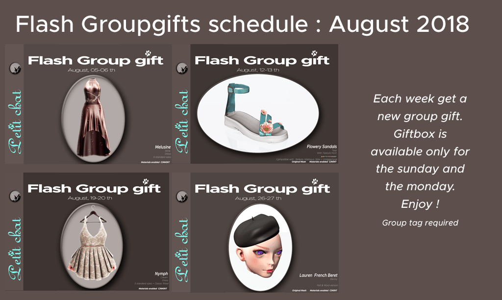 Weekly Flash GroupGift Shedule : August 18