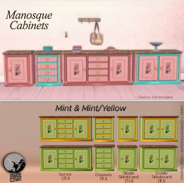 Manosque Cabinet poster, showing the collection of short cabinets in monocolor and bicolor