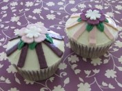 Stripes & Blossoms Cupcakes