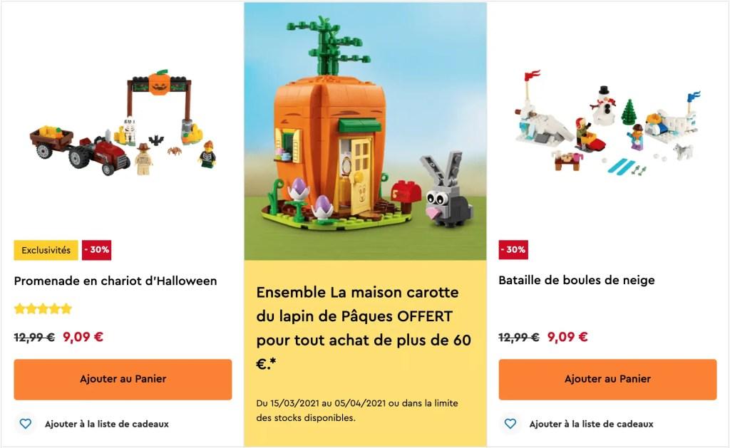 Les promotions du site LEGO permettent d'avoir des réductions ou des cadeaux gratuits