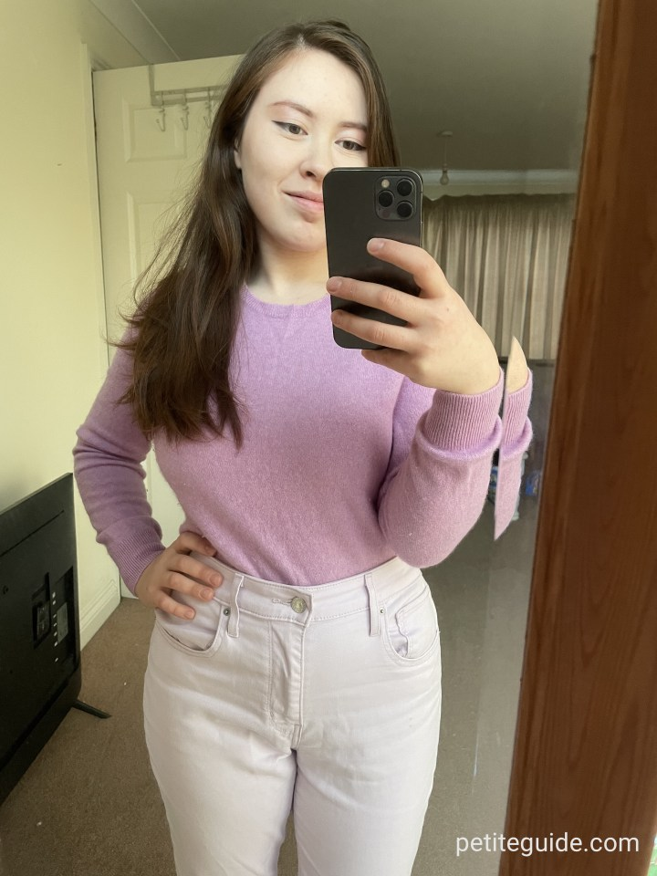 Purple Sweater and Pink Jeans Outfit – Winter Style