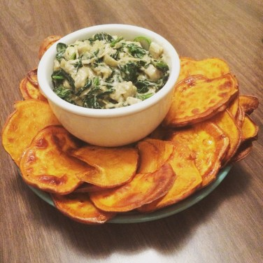 Spinach and artichoke dip w/ sweet potato 'chips'