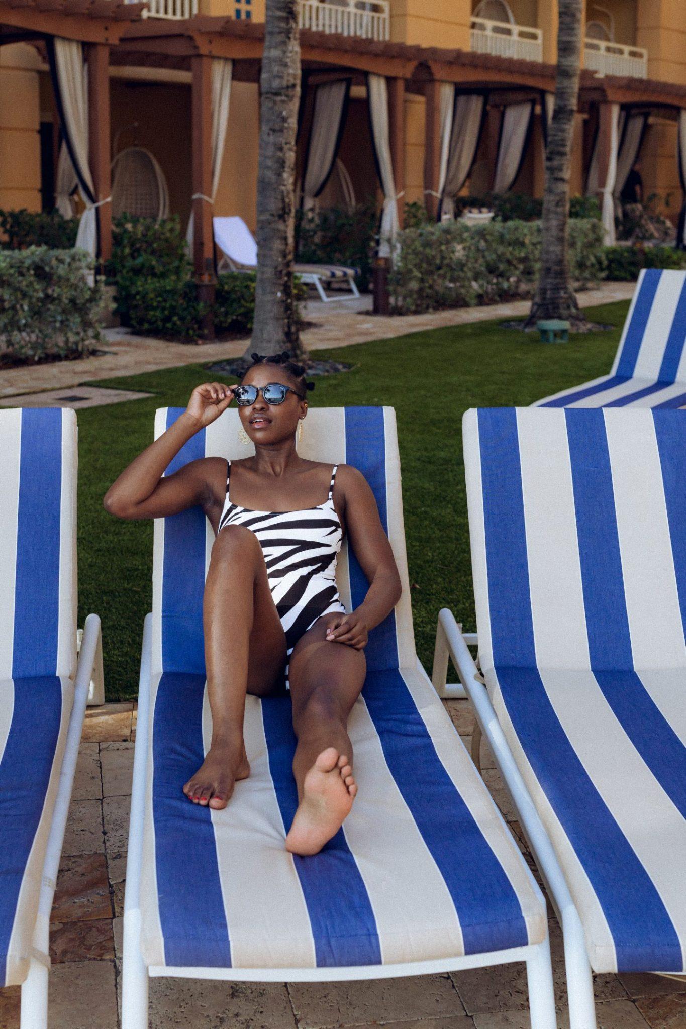Black Model Posing at Eau Palm Beach