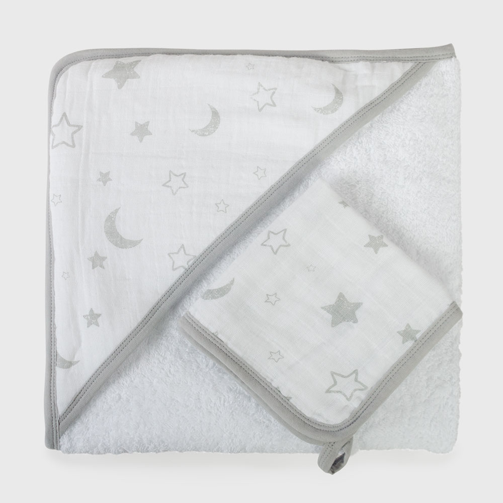 Baby Muslin Hooded Towel Set