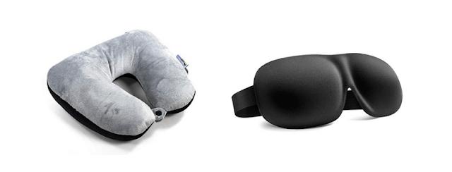 accessoire voyage masque de sommeil et oreiller de voyage