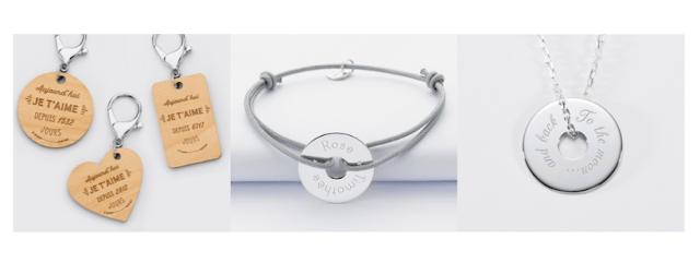 Porte-clés personnalisé, bracelet personnalisé avec des prénoms gravé dessus, collier avec gravure