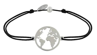 Bracelet noir avec une mappemonde en argent au milieu