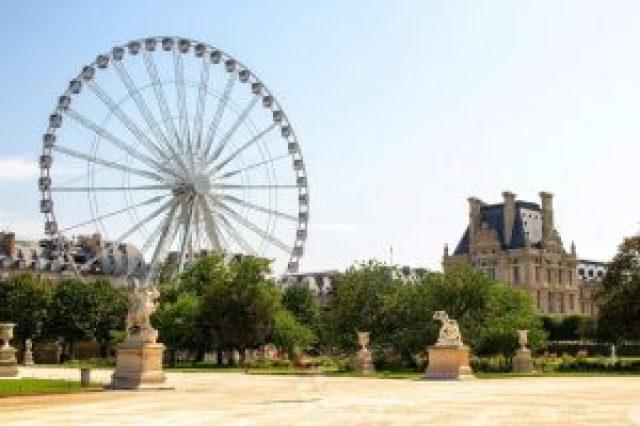 Jardin, parc, grande roue, statues