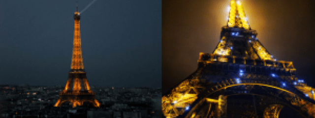 Tour Eiffel éclairée la nuit