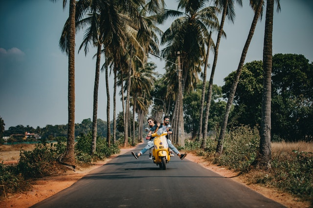 un homme et une femme sur un scooter sur une route bordée par des palmiers