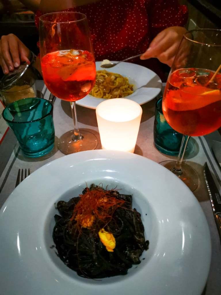 plat de pâtes au restaurant lors de notre week-end à Venise