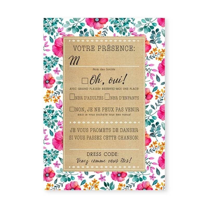 rsvp mariage liberty champetre fleurs et eucalyptus