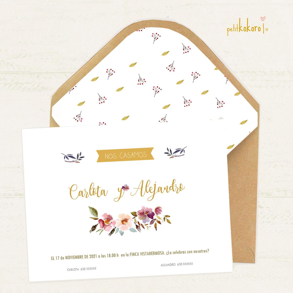 Invitación boda modelo Orla Floral Acuarela