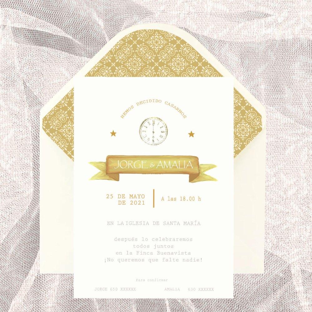 Invitación boda modelo adamascado
