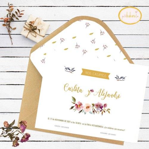 Invitación boda Orla Floral Acuarela