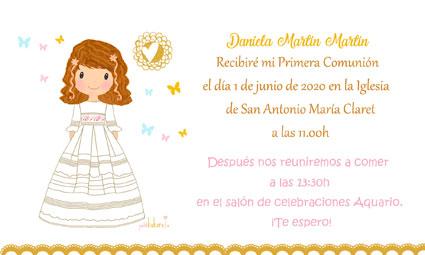 Invitaciones de comunión niña modelo Daniela