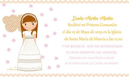 Invitaciones de comunión niña modelo Ionela