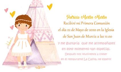 Invitaciones de comunión niña modelo Patricia