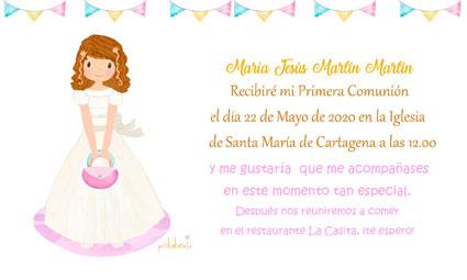 Invitaciones de comunión niña modelo bolsito