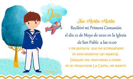 Invitaciones de comunión modelo Jose