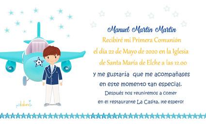 Invitaciones de comunión niña modelo Manuel avioneta
