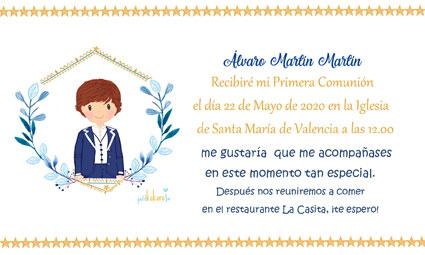 Invitaciones de comunión modelo orla Álvaro