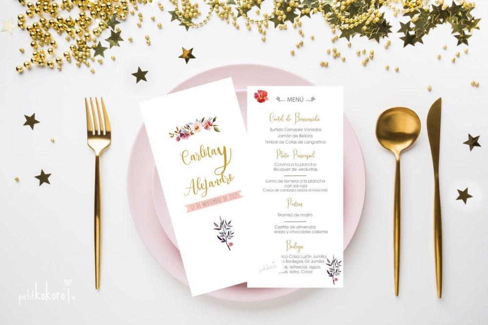 Menú-boda-restaurante-modelo-Orla-Floral-Acuarela-Petitkokoro
