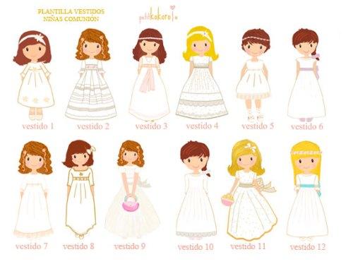 Plantilla libro de firmas comunión personalizado niña Petitkokoro vestidos