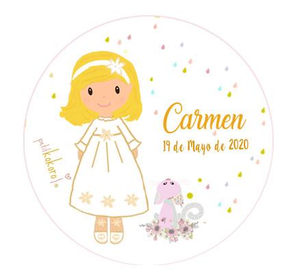 chapas comunión personalizadas modelo Carmen