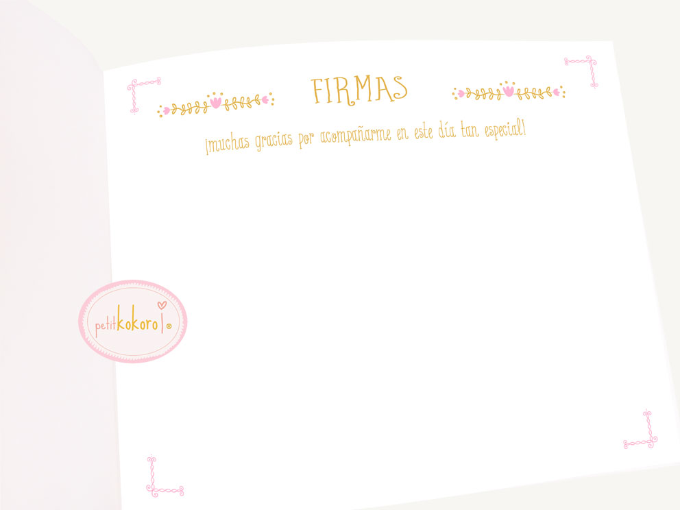 libro de firmas comunión hoja firmas Petitkokoro