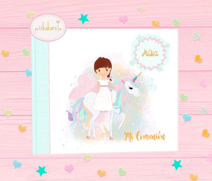 Libro Firmas de comunión niña modelo unicornio