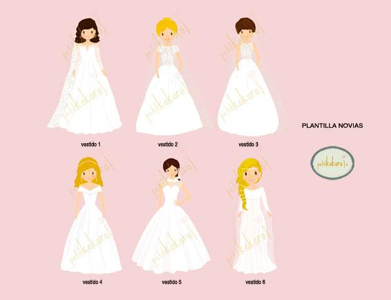 plantilla vestidos novia petitkokoro
