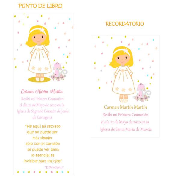 Punto de libro y Recordatorio comunión niña modelo Carmen