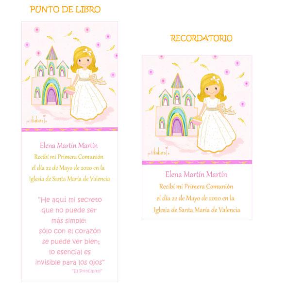 Punto de libro y Recordatorio comunión niña modelo iglesia