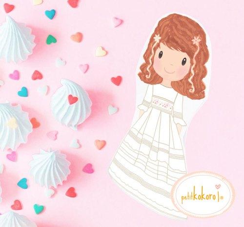 silueta comunión niña personalizada Petitkokoro