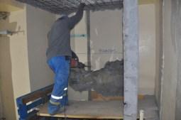 Préparation de la cage ascenseur