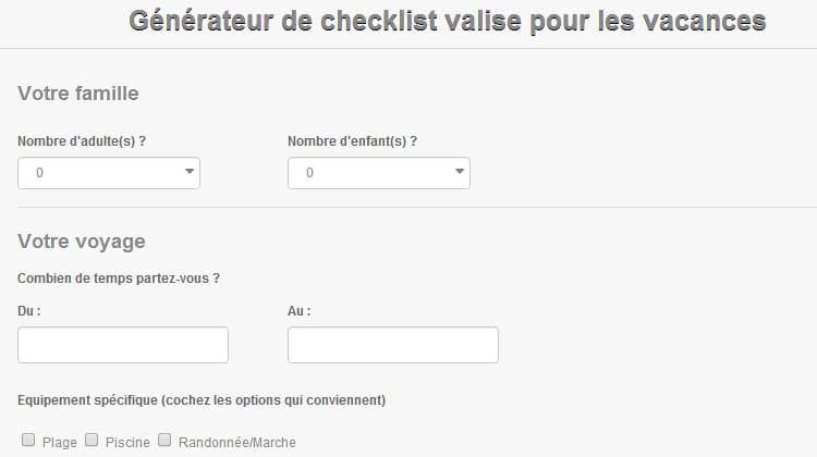 checklist valise voyage famille