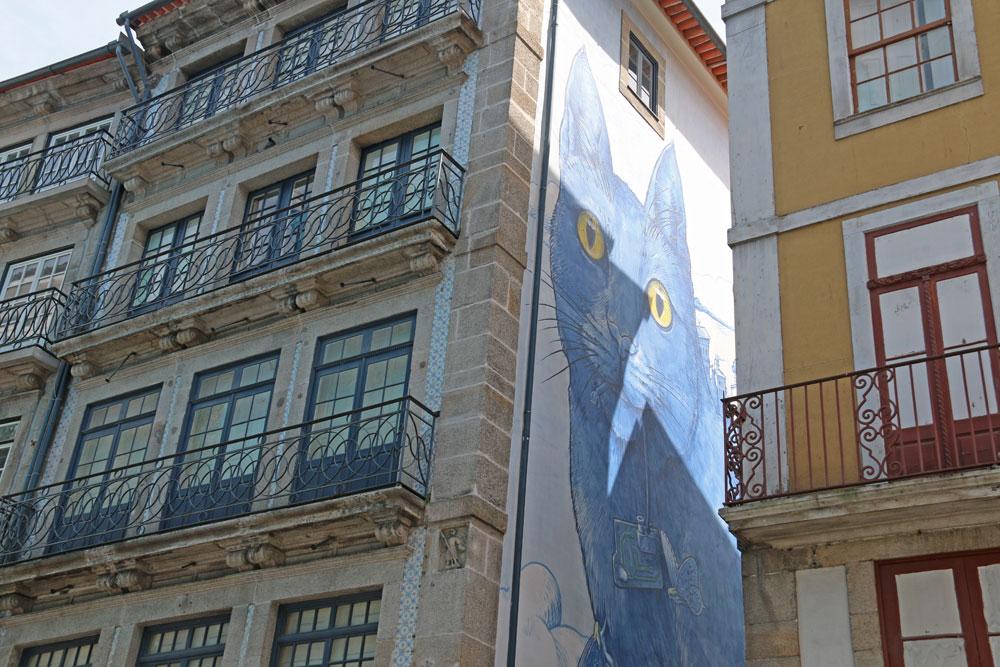 fresque murale chat porto