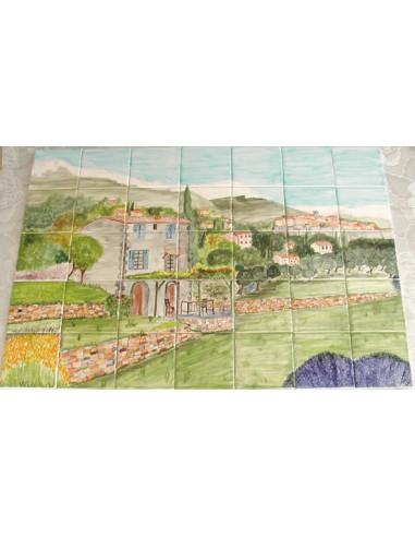 fresque murale sur carreaux de faience decor artisanal modele bastide arriere pays nicois 50x70